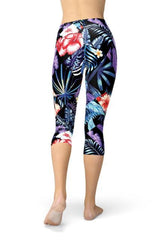 Geometric Tropical Floral Capri Leggings - BOTTOMS - NIGEL MARK