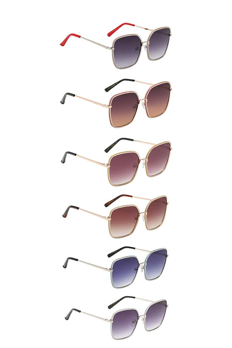 Giselle Captivating Square Metallic Wire Frame Dazzled Barrel Ladies Shades Sunglasses - NIGEL MARK