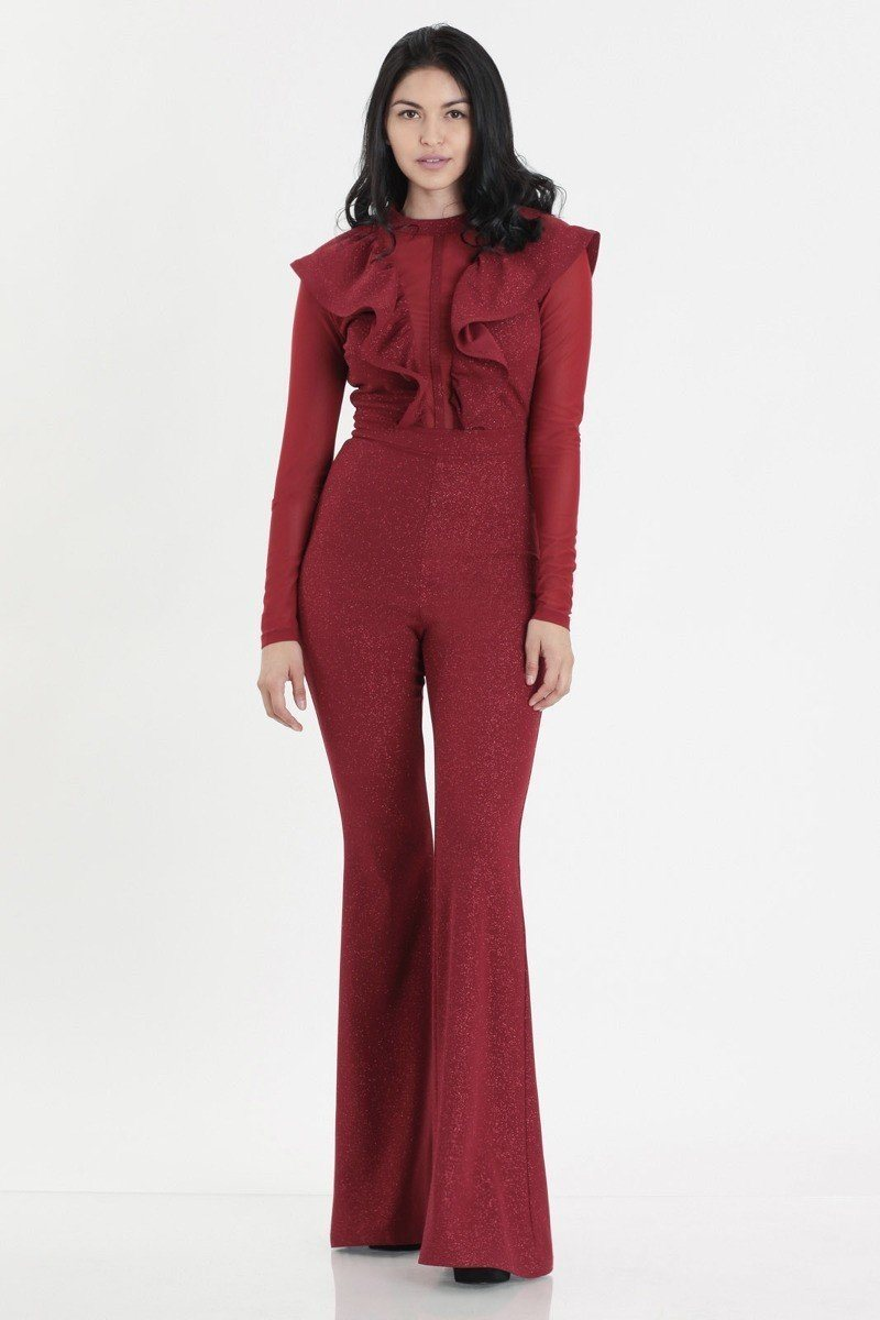 Glittered Stretch Crepe Solid Jumpsuits - NIGEL MARK