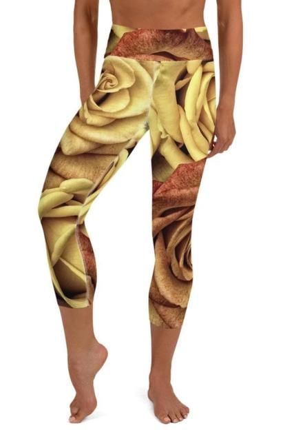 Golden Rose Cropped Leggings - BOTTOMS - NIGEL MARK