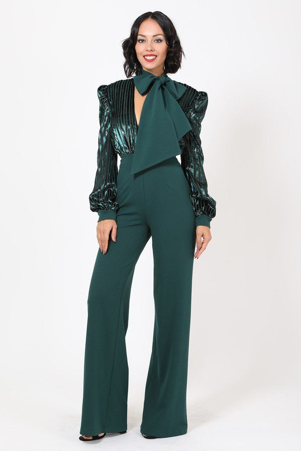 Gorgeous Shiny Jumpsuit - Hunter Green - JUMPSUITS - NIGEL MARK