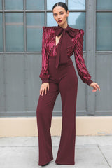 Gorgeous Shiny Jumpsuit - Wine - JUMPSUITS - NIGEL MARK