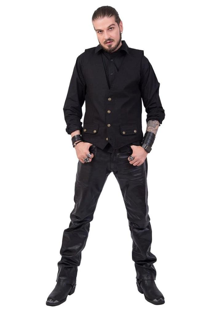 GOTHIC ROCK - Gothic Waistcoat Four Button with Lining - MEN JACKETS & COATS - NIGEL MARK