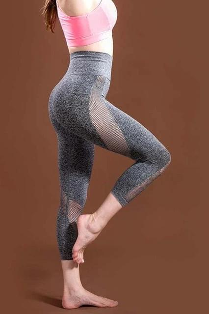 Gray Mesh Patchwork Yoga Pants - WOMEN BOTTOMS - NIGEL MARK