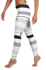 Gray Stripe And Glitter Heart Leggings - BOTTOMS - NIGEL MARK