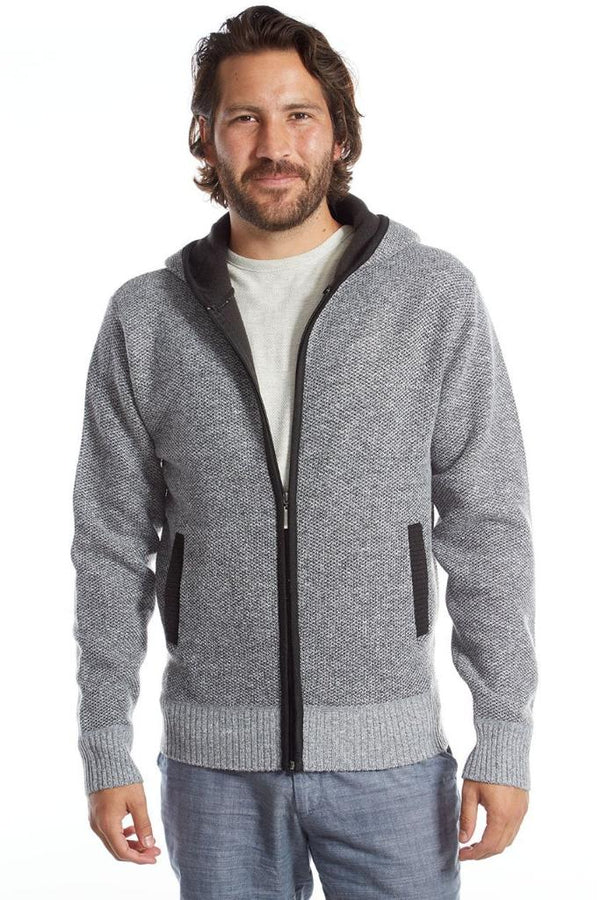 Gray Zip Up Sweater Hoodie - Men's Clothing - NIGEL MARK