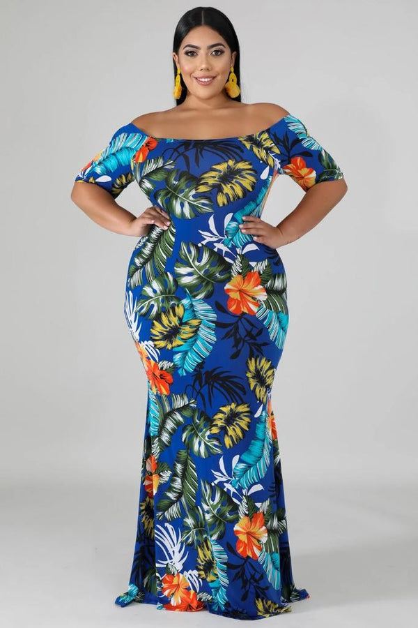 Green Boat Maxi Dress - PLUS DRESSES - NIGEL MARK