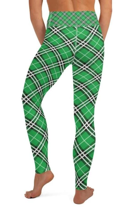 Green Plaid Leggings - BOTTOMS - NIGEL MARK