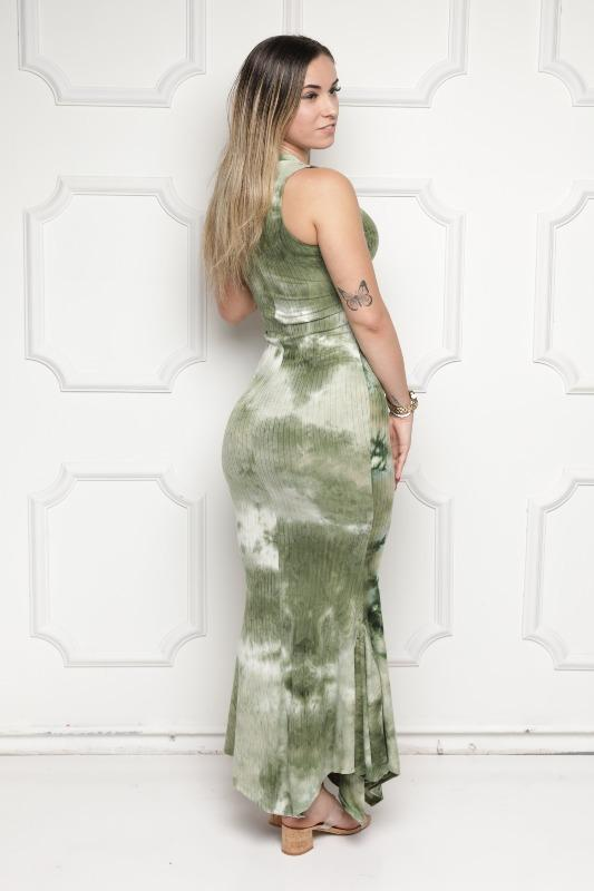 Green Tie Dye Maxi Dress - DRESSES - NIGEL MARK