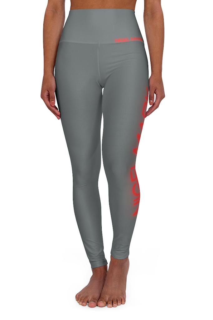 Grey And Red Neon Leggings - NM BRANDED - NIGEL MARK