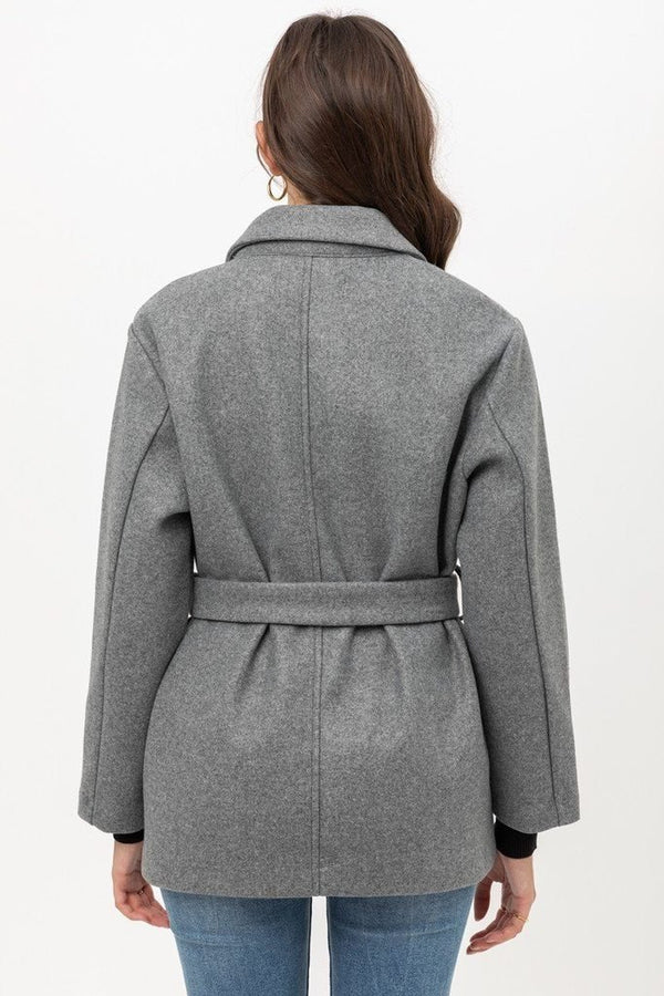 Grey Fleece Belted Coat - WOMEN TOPS - NIGEL MARK