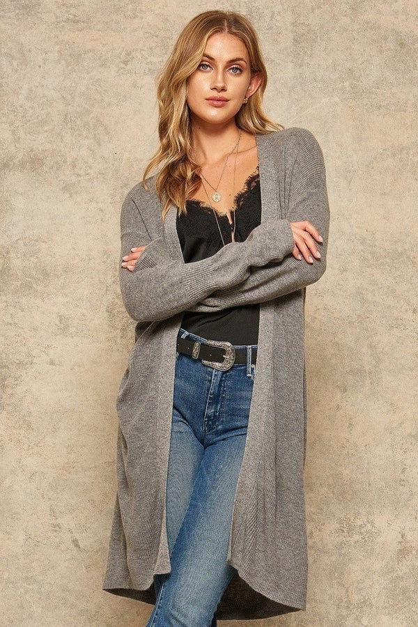 Grey Ribbed Knit Cardigan - WOMEN TOPS - NIGEL MARK
