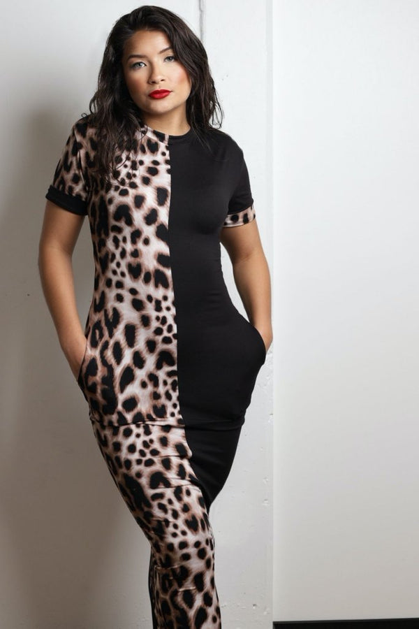 women's half leopard print maxi dress