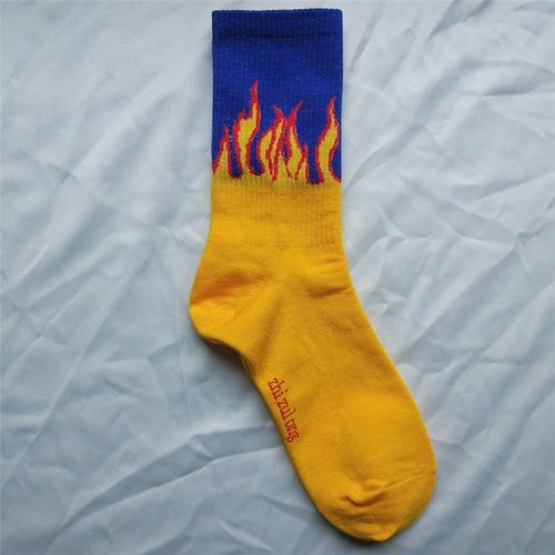 Harajuku men's socks cotton flame print hip hop - MEN ACCESSORIES - NIGEL MARK