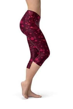 Hearts on Hearts Red Capri Leggings - BOTTOMS - NIGEL MARK
