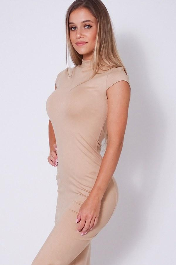taupe midi dress