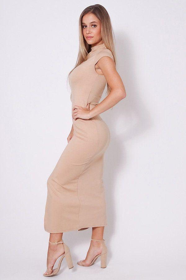 taupe high neck midi dress