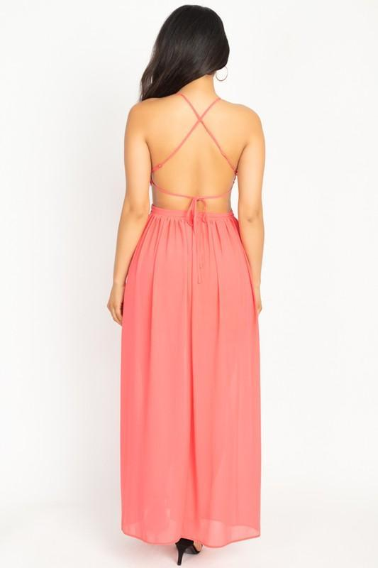 High Slit Chiffon Maxi Dress - Women's Clothing - NIGEL MARK