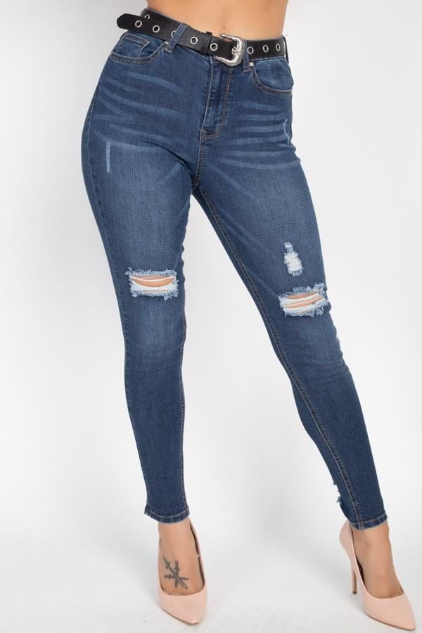 High Waist Belted Skinny Jeans - WOMEN BOTTOMS - NIGEL MARK