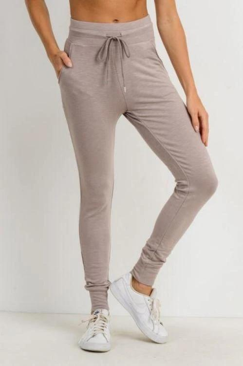 Highwaist Slim-Fit Cuffed Joggers - BOTTOMS - NIGEL MARK