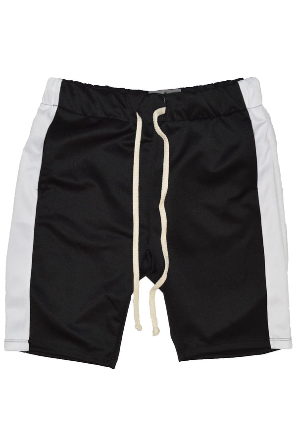 black and white track shorts