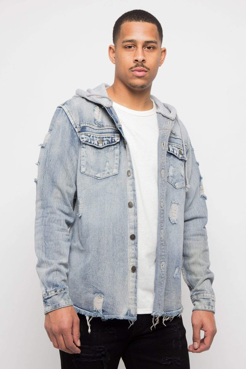 Hooded Distressed Denim Button Up Shirt - MEN JACKETS & COATS - NIGEL MARK