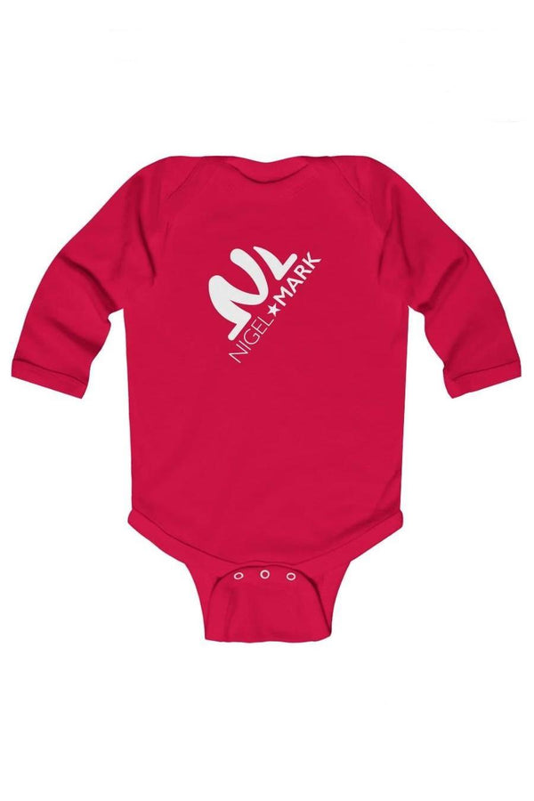 red and white long sleeve baby onesie