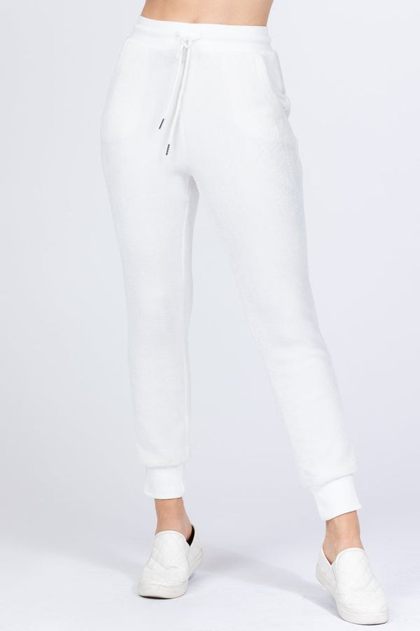 Ivory Faux Fur Jogger Pants - WOMEN BOTTOMS - NIGEL MARK