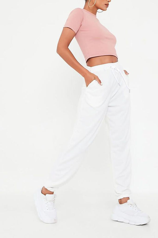 Ivory High Waist Loopback Jogger - WOMEN BOTTOMS - NIGEL MARK