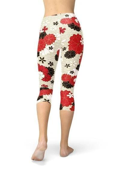 Japanese Cherry Blossom Capri Leggings - BOTTOMS - NIGEL MARK