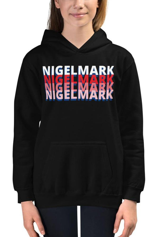 pink and red branded logo hoodie