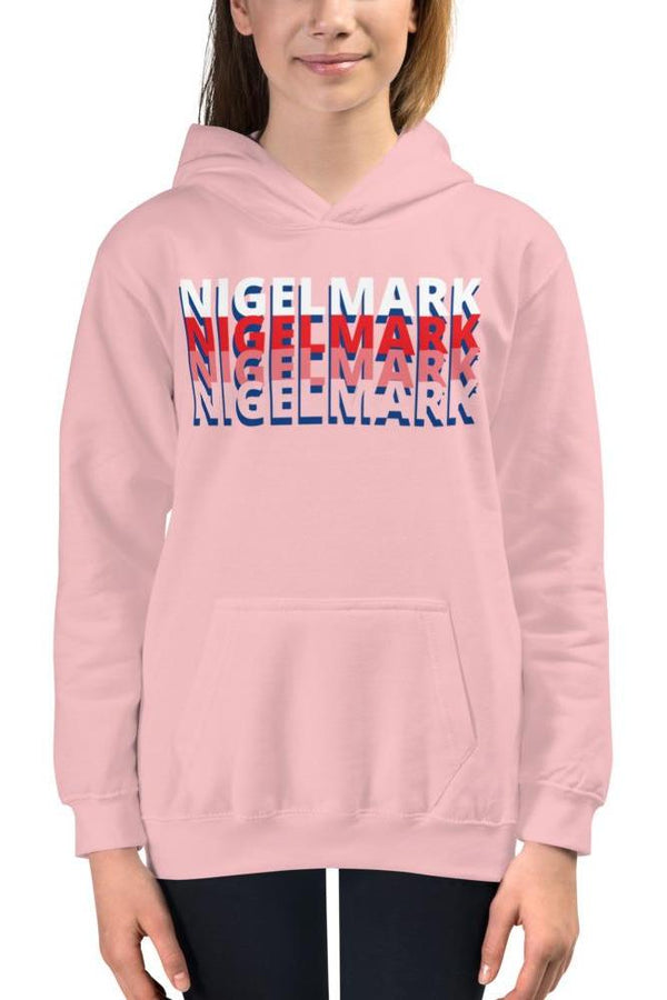 kid's pink and white branded hoodie