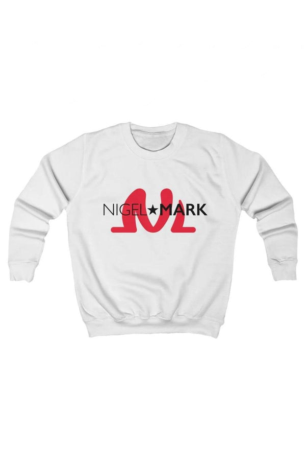 kids white and red crewneck pullover