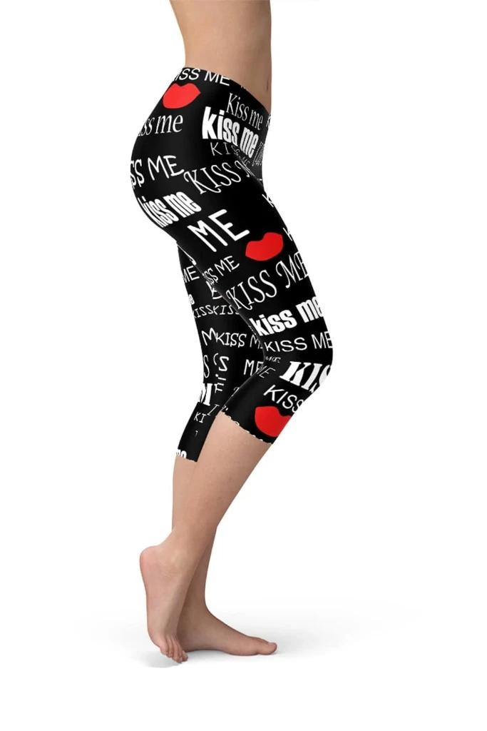 Kiss Me Black Capri Leggings - WOMEN BOTTOMS - NIGEL MARK