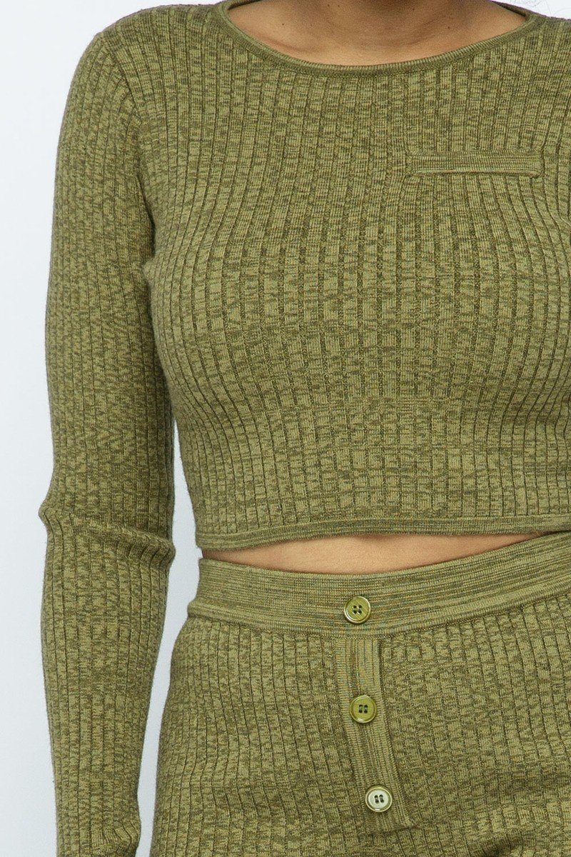 Knit High-waist Biker Shorts Set - Olive - WOMEN MATCHING SETS - NIGEL MARK