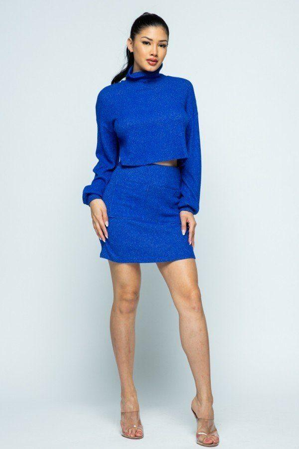 Knit Mini Skirt Set - Royal Blue - MATCHING SETS - NIGEL MARK