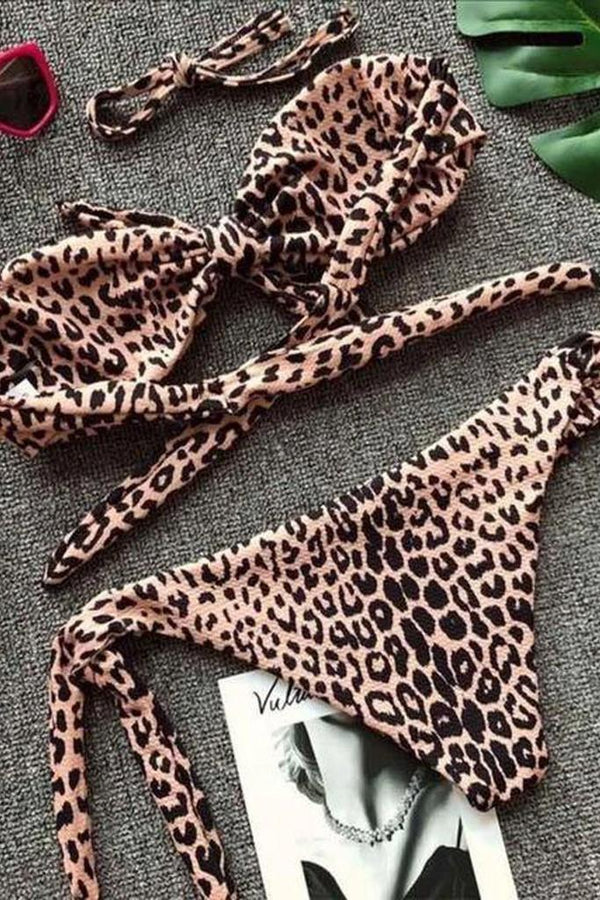 Knot Leopard Printed Bikini - WOMEN SWIMWEAR - NIGEL MARK