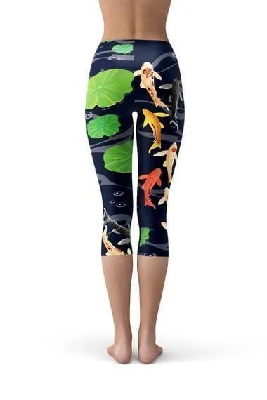 Koi Fish In Pond Capri Leggings - WOMEN BOTTOMS - NIGEL MARK