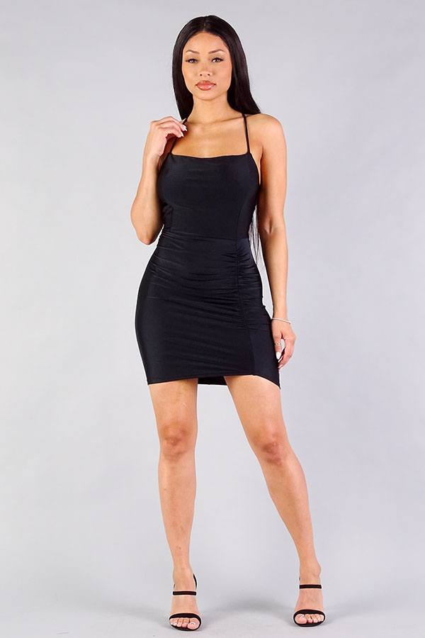 lace up back black dress