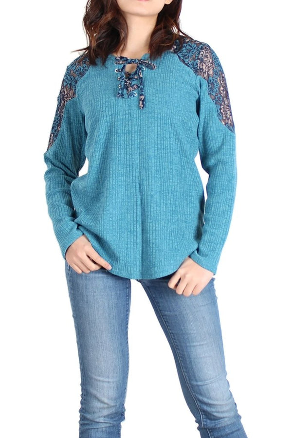 Lake Blue Lace-Panel Lace-Up Front Sweater - Women's Clothing - NIGEL MARK