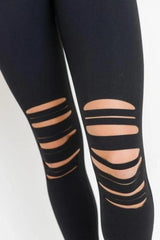 Laser Cut Ripped Knee Leggings - BOTTOMS - NIGEL MARK