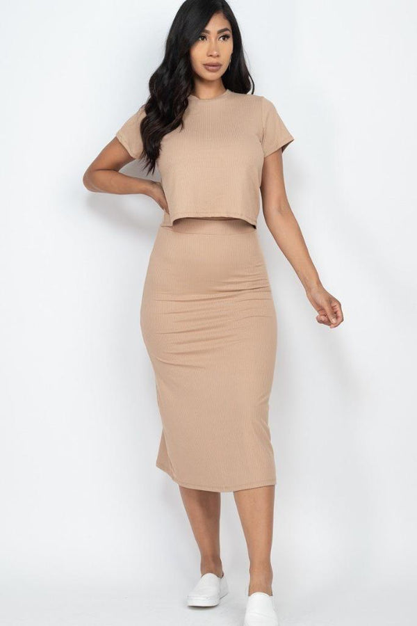 Latte Top And Midi Skirt Set - WOMEN MATCHING SETS - NIGEL MARK