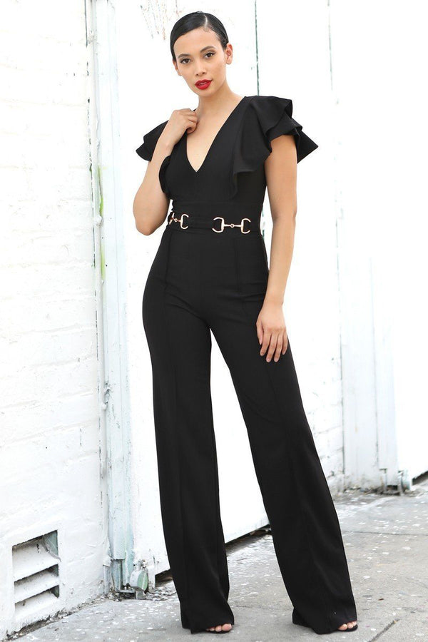 Layered Ruffle Shoulder Jumpsuit W/ Buckle Detail - NIGEL MARK