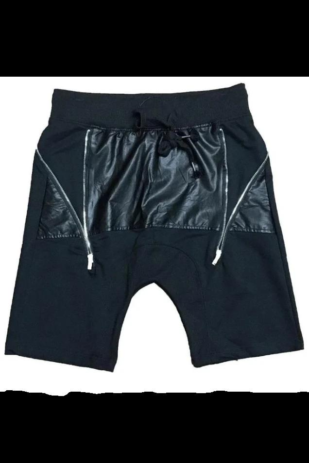 Leather Front Moto Shorts - MEN SHORTS - NIGEL MARK