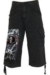 LIFE AND DEATH CROSS - Vintage Cargo Shorts 3/4 Long Black - MEN SHORTS - NIGEL MARK