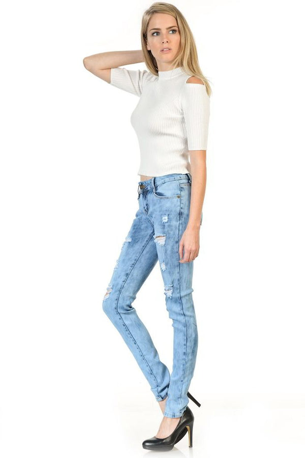 Light Bleach Faded Jeans - WOMEN BOTTOMS - NIGEL MARK