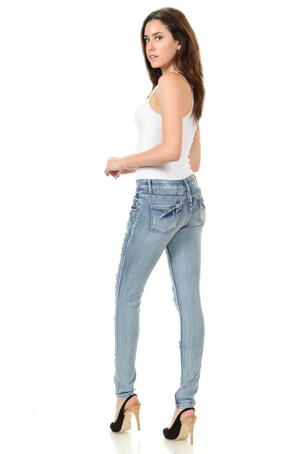 Light Wash Faded Jeans - WOMEN BOTTOMS - NIGEL MARK