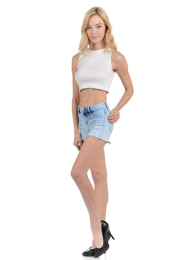 Light Wash Shorts - WOMEN BOTTOMS - NIGEL MARK