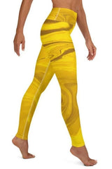 Liquid Gold Abstract Yellow Leggings - BOTTOMS - NIGEL MARK