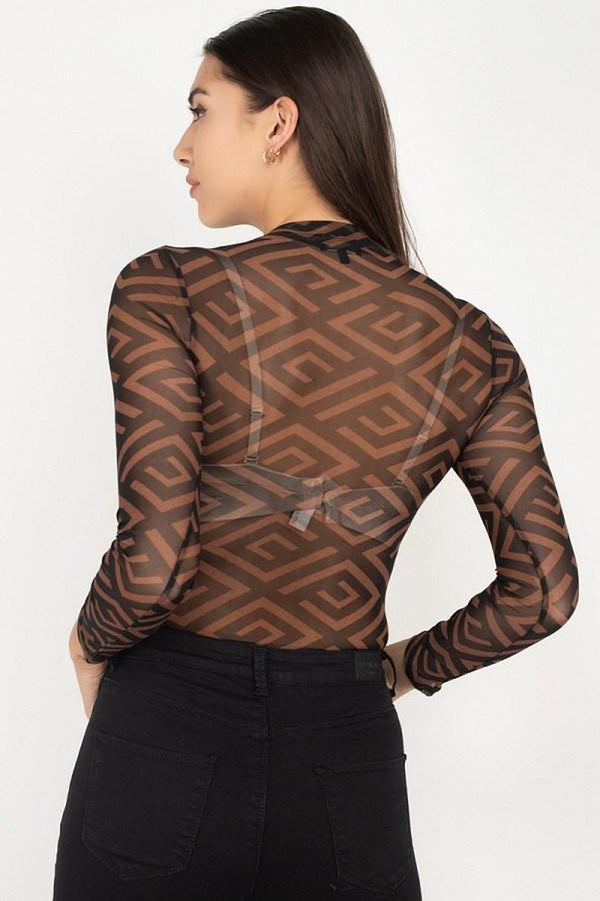 Long Sleeve Geometric Bodysuit - NIGEL MARK